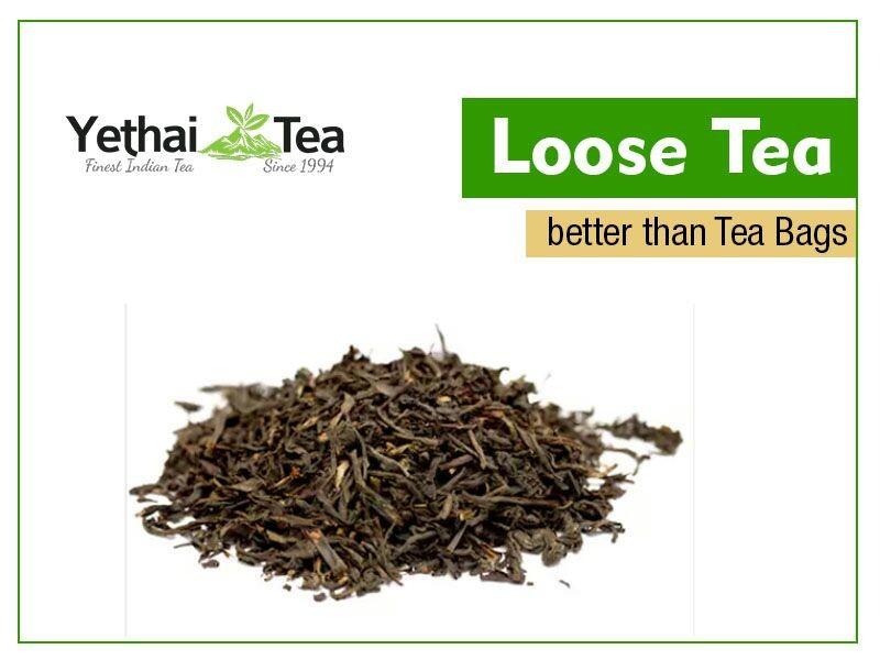 Cutting Edge of Loose tea Over Tea Bag