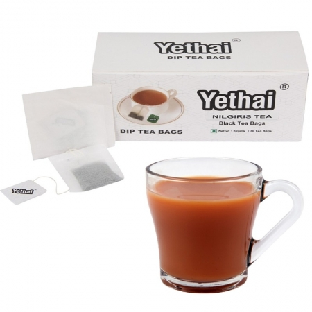 Yethai CTC Nilgiris Black Dip Tea Bags,30 Tea Bags – 60gms | Tea Powder from Nilgiris | No Chemicals | 100% Natural | Fresh Tea Powder | Easy to use and Carry