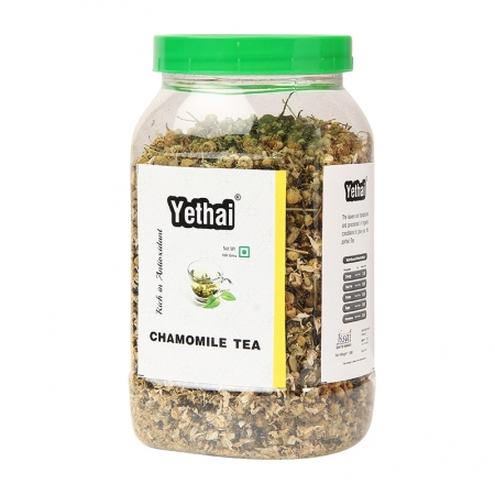 Chamomile Green Tea | Tea to reduce menstrual problems and insomnia | Herbal Green Tea 100 g (Min. 70 Cups) | Loose Leaf Tea | No Chemicals | Herbal Green Tea