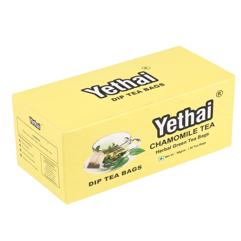 Yethai Chamomile Green Dip Tea Bags, 30 Tea Bags-60g | Tea from Assam | No Chemicals | 100% Natural | Fresh Green Tea Powder | Easy to use and Carry