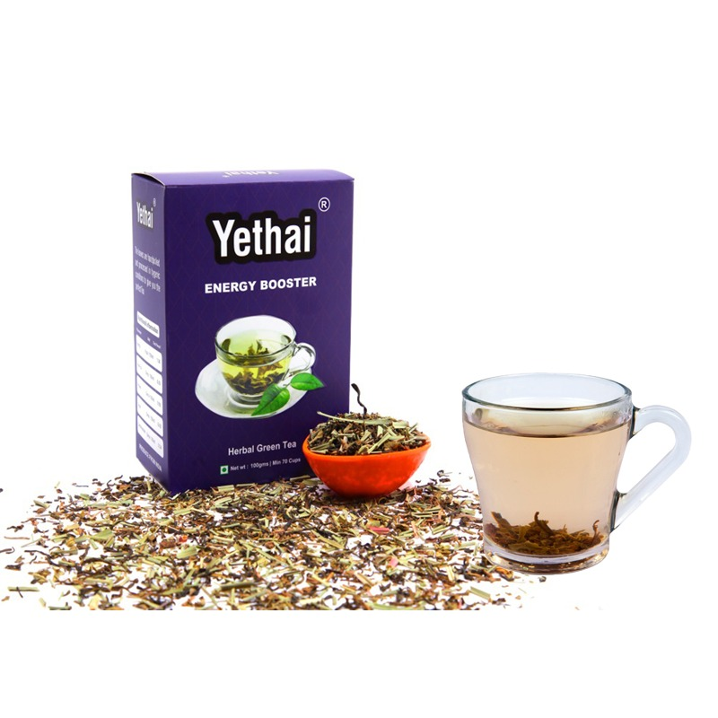 Energy Boosting Green Tea,100 GMS (Min. 70 Cups) | Loose Leaf Tea | No Chemicals | Herbal Green Tea | Blend of Premium Green Tea with Rich Herbs of India | For Men and Women