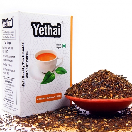 Herbal Masala Chai | Loose Leaf Black Tea | No Chemicals | 100% Natural | Herbal Black Tea | Blend of High Quality Assam Tea with Rich Herbs and Spices of India | Fresh Tea