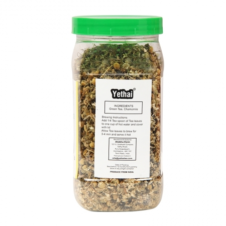 Chamomile Green Tea   Tea to reduce menstrual problems and insomnia   Herbal Green Tea 100 g (Min. 70 Cups)   Loose Leaf Tea   No Chemicals   Herbal Green Tea