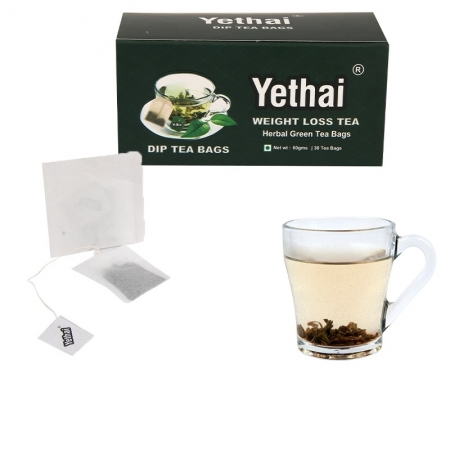Weight Loss Dip Tea, 30 Tea Bags - 60gms | Herbal Green Tea | For Men and Women | No Chemicals | 100% Natural | Fresh Tea Powder | Easy to use and Carry