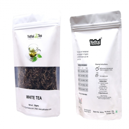 White Tea | 50gms (Min 35 cups) | Loose Leaf Tea | No chemicals | 100% Natural | Darjeeling Tea | White Tea Silver Needles | White Tea Golden Tips | Fresh Tea
